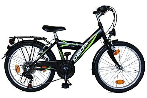 Kinderfahrrad 20 Zoll DELTA Fahrrad 6 Gang Shimano Schaltung StVZO tauglich schwarz/grün