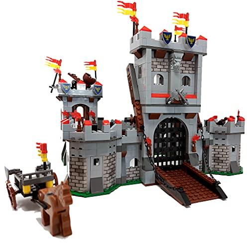 Große Bausteine Ritterburg Burg inkl. Ritter Minifiguren, 1180 Klemmbausteine