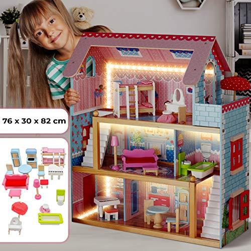 Puppenhaus aus Holz mit LED licht - 3 Spielebenen, mit Möbeln und Zubehör, für 13 cm große Puppen -...