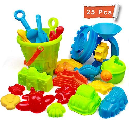 Strand Sandspielzeug Set mit Strandtasche Mesh, Strandspielzeug für Familie Urlaub mit Spaten Schaufel,...