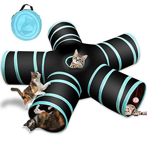 Sammiu 5-Wege-Katzentunnel, Collapsible Pet Play Tunnel Interactive Tube für Katze, Welpe, Kitty,...