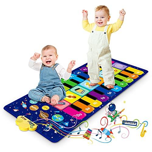Klaviermatte für Kinder, Tanzmatte Musikmatte mit 8 Instrumenten & 20 Tasten, Lernspielzeug Geschenke...
