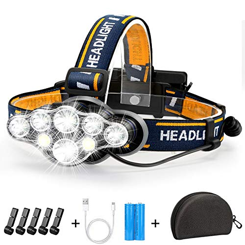 Stirnlampe, Superheller Kopflampe 18000 Lumen 8 LED 8 Modi mit Rotem Warnlicht, USB Stirnlampe...