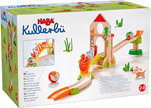 HABA 305396 - Kullerbü – Kugelbahn Hühner-Domino, Kugelbahn aus Holz mit Dominostein-Effekt,...