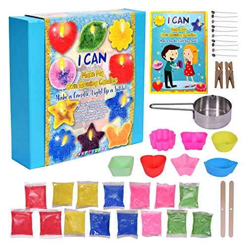 KRAFTZLAB Ultimatives Set zum Kerzen Selbermachen - Enthält Kerzenwachs in 5 Farben, 7 Gussformen für...