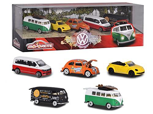 Majorette 212057615 Volkswagen Originals 5er-Geschenkset, Spielzeugautos mit Freilauf aus Metall, zu...