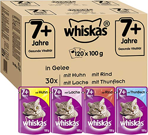 Whiskas 7 + Katzenfutter – Hochwertiges Nassfutter für gesundes Fell , Gemischte Auswahl in Gelee, 120...