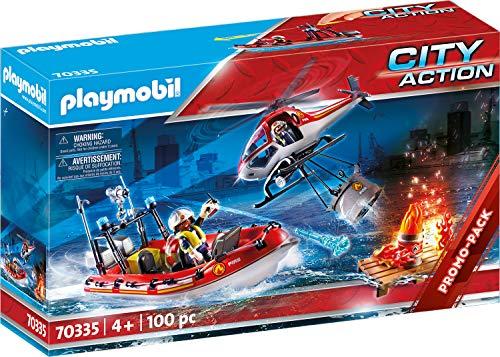 PLAYMOBIL City Action 70335 - Feuerwehreinsatz mit Heli und Boot, ab 4 Jahren