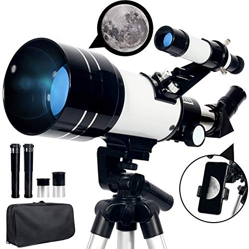 Upchase Astronomisches Teleskop, 70/300mm, Super Klares Tragbares Refraktor Teleskop Sets, Verstellbares...