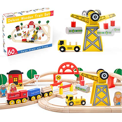 Holzeisenbahn- Eisenbahn Advanced Set- Kran Spielzeug & zug & Holz Eisenbahnen- 60Pcs- Passend für...