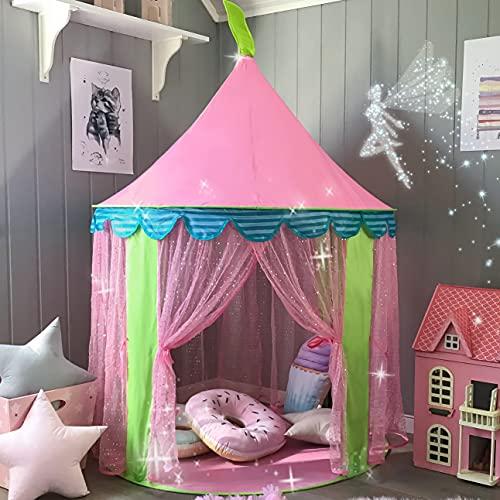 Kinderzelt Prinzessin Spielzelt für Mädchen - Glitzer Castle Kinderzimmer mit Tragetasche - Kinderhaus-...