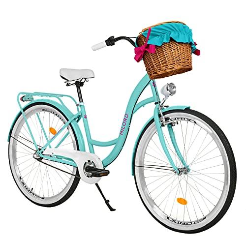 Milord. 26 Zoll 3-Gang Aqua blau Komfort Fahrrad mit Korb und Rückenträger, Hollandrad, Damenfahrrad,...