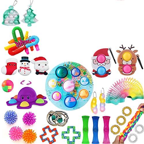 Tiktok Fidget Toys Pack, Weihnachten Fidget Toys Pack Pop Set, Beliebtes Push Bubble Pop Spielzeug Set...