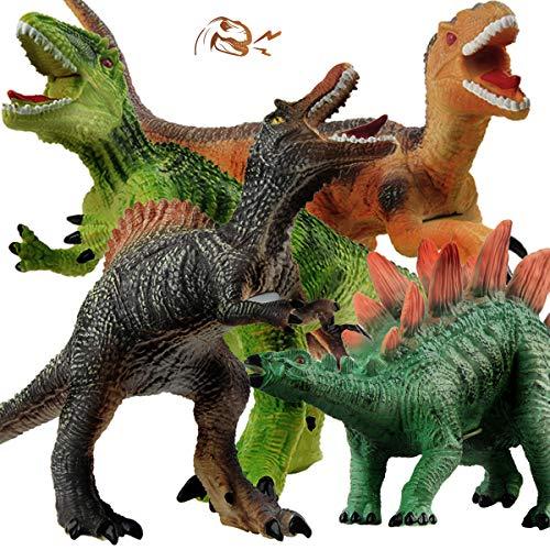 GizmoVine Dinosaurier Spielzeug ,4 Stück Jumbo Dinos 31cm weiche Dinosaurier Figuren mit Realistischem...