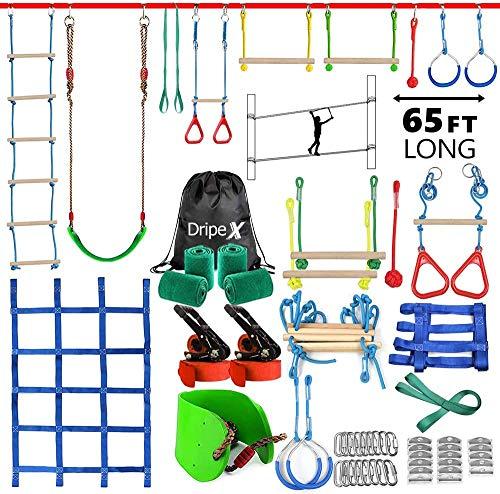 Dripex Ninja Slackline Set 20M Anfänger Slacklines mit dem zusätzliche Kletternetz, Schaukel und...