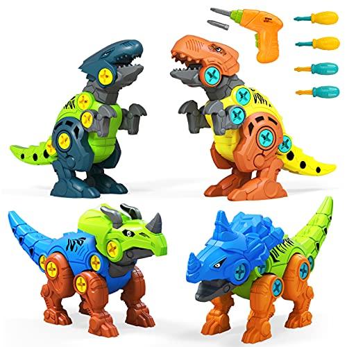 UTTORA Dinosaurier Spielzeug,4 Stück Dinosaurier Spielzeug mit Elektrische Bohrmaschine Werkzeugen DIY...