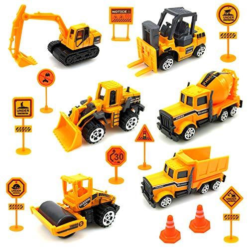 Sunarrive Baustellenfahrzeuge mit Baustellenschild - Baufahrzeuge Mini Bagger für Torte - Baustelle...