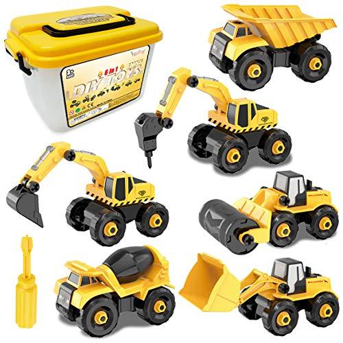Vanplay Montage Große LKW Spielzeug DIY 6-in-1 BAU Bagger Spielzeug mit Schraubendreher für Kinder...