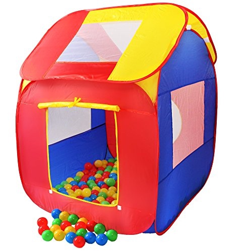 KIDUKU® Kinderspielzelt Bällebad Pop Up Spielzelt + 200 Bälle + Tasche für drinnen und draußen