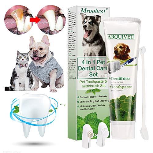 Mroobest Hund Zahnpasta, Dog Toothpaste, Hundezahnbürste, Zahnpflege-Set für Hunde, Zahnsteinentferner...