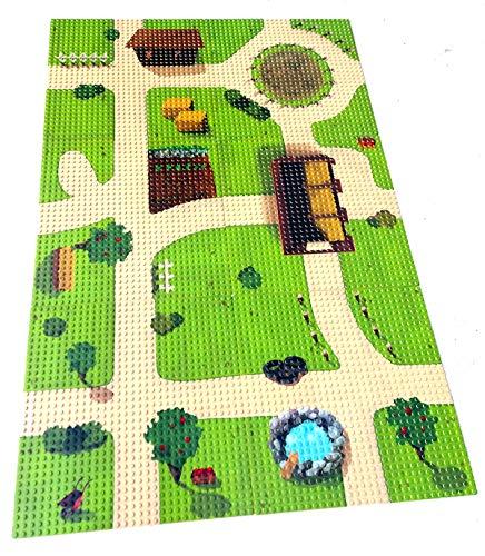 Modbrix 6 x Bedruckte Grundplatte City Bauernhof Grundplatten, 32 x 32 Noppen Bauplatte, 25.5 x 25.5 cm -...
