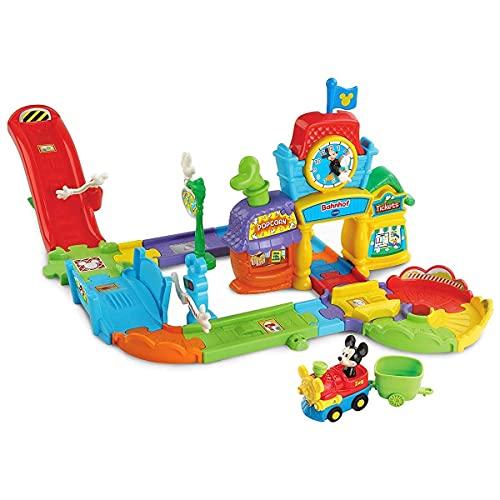 Vtech 80-512204 TUT Baby Mickys Bahnhof Mickey & Friends Flitzer Fahrzeuge Babyauto, Multicolor