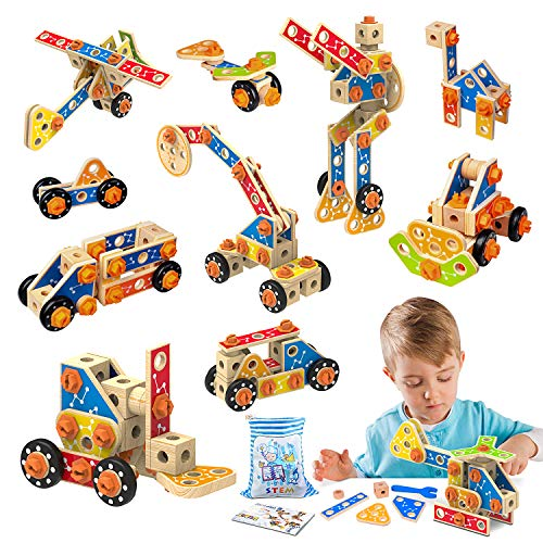 LUKAT Holz Konstruktionsspielzeug, STEM Bausteine Spielzeug 3 4 5 6 7 8 9 10 Jahre 72 PCS holzspielzeug...