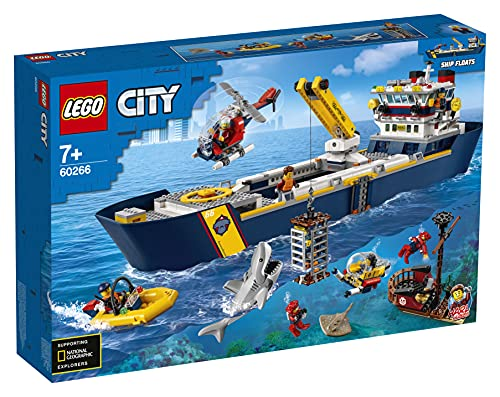 LEGO 60266 City Meeresforschungsschiff, schwimmendes Spielzeugboot, Tiefsee-Unterwasserset,...