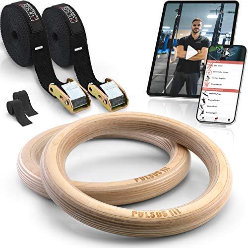 PULSUS fit Gymnastikringe Turnringe aus Holz mit Übungsvideo App + verstellbare Gurtschnallen +...