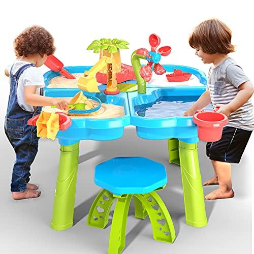 TEMI 4-in-1 Sand Wassertisch, 32 STÜCKE Sandkastentisch mit Strand Sand Wasser Spielzeug, Kinder...