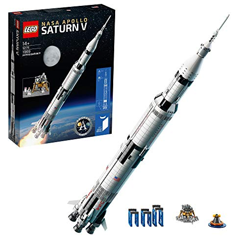 LEGO 92176 Ideas NASA Apollo Saturn V Weltraumrakete und Fahrzeuge, Raumschiff Bauset für Sammler, mit...