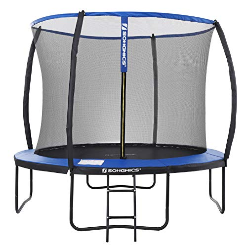 SONGMICS Trampolin Ø 305 cm, rundes Gartentrampolin mit Sicherheitsnetz, mit Leiter und gepolsterten...