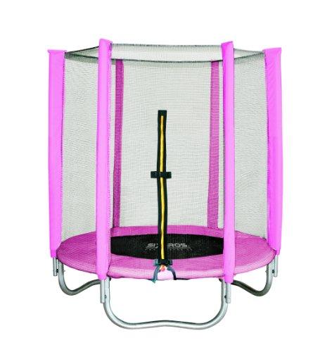 SixBros. SixJump Gartentrampolin 1,40m, Kindertrampolin inkl. Sicherheitsnetz, Outdoor-Trampolin in pink,...