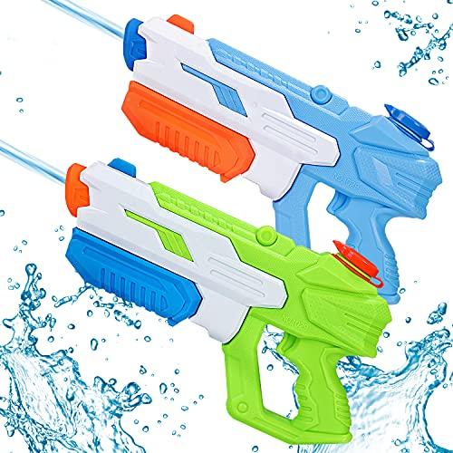 Wasserpistole Spritzpistolen Set, 2 Stücke Wasserpistolen großmit 10-11 Meter Reichweite, 650ml...