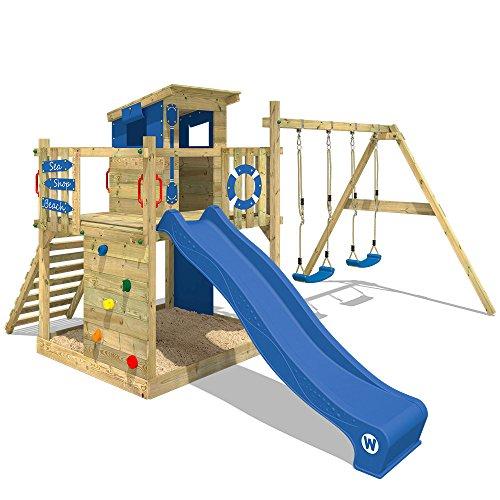 WICKEY Spielturm Smart Camp - Klettergerüst mit Stelzenhaus, massivem Holzdach, Schaukel, Sandkasten,...