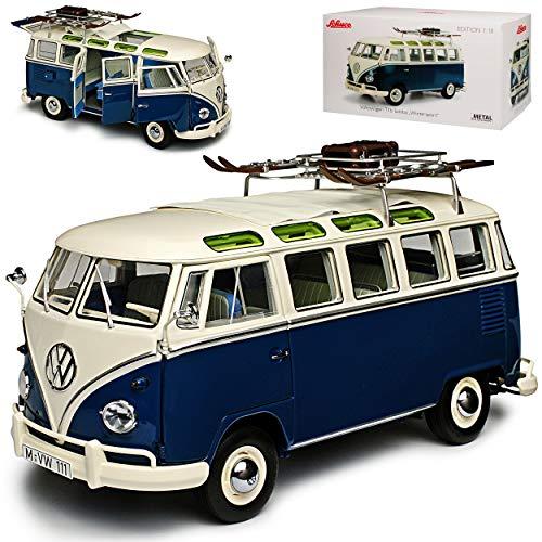 Volkwagen T1 Samba Wintersport mit Ski Blau Weiss Personen Transporter 1950-1967 1/18 Schuco Modell Auto...