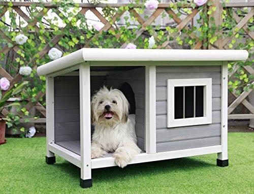Petsfit hölzerne Hundehütte für draußen mit Fenster, EIN Zimmer und EIN Wohnzimmer für Haustiere zum...