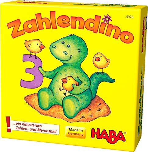 Haba 4928 - Zahlendino Dinostarkes Zahlen- und Memospiel, für 1-4 Kinder von 3-8 Jahren  Zum Zahlen und...