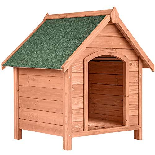 TecTake 403229 Robuste Hundehütte aus lasiertem Kiefernholz, Spitzdach zum Aufklappen und mit...