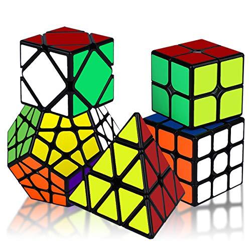KidsPark Zauberwürfel Set, 5 Stück Magic Speed Cube Set 2x2 3x3 Puzzle Würfel Pyraminx Megaminx Skewb...