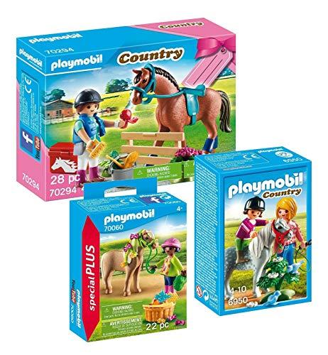 Playmobil 3-teiliges Set: Geschenkset 70294 Reiterhof + 70060 Mädchen mit Schmückpony + 6950...