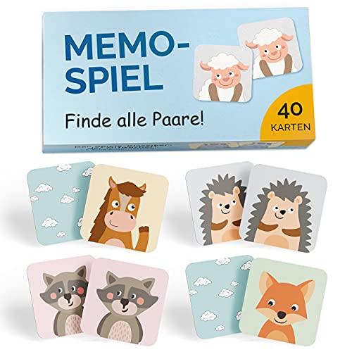GLÜCKSWOLKE Memo - Spiel I Für Kinder ab 2 bis 6 Jahre I Montessori Spielzeug - fördert Konzentration...