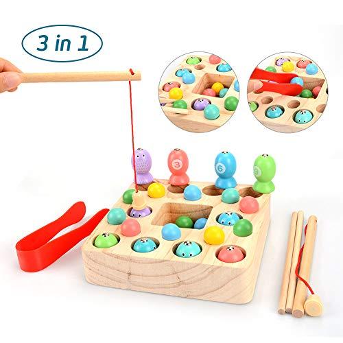 OYMMENEY Holzspielzeug 3 In 1 Angelspiel Montessori Spielzeug Lernspielzeug Magnettafel Kinderspielzeug...