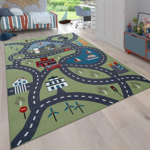Paco Home Kinder-Teppich Für Kinderzimmer, Spiel-Teppich Mit Straßen-Motiv, In Grün, Grösse:160x220...