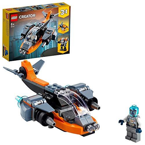 LEGO 31111 Creator 3-in-1 Cyber-Drohne, Bauset mit Cyber Mech und Motorroller, Weltraumspielzeug für...