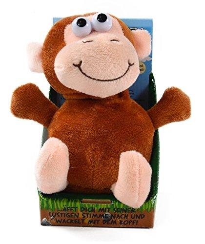 Kögler 75611 - Labertier Affe Zulu, ca. 18 cm groß, nachsprechendes Plüschtier mit Aufnahme- und...