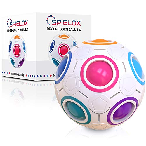 SPIELOX® Regenbogenball - Verbessertes Konzept 2020 I Knobelspiel I Geschicklichkeitsspiele für...