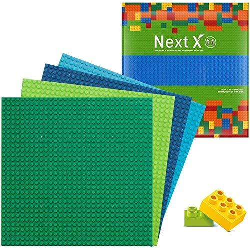 NextX 4 Stück Bauplatte für Classic Bausteine Plastik Grundplatte 25 x 25 cm-Blau + Grün + Hellblau +...