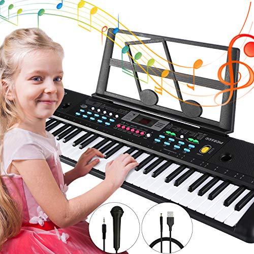 Magicfun Keyboard, Digital Piano 61 Tasten Keyboard Klavier mit Mikrofon Notenständer Netzteil Für...