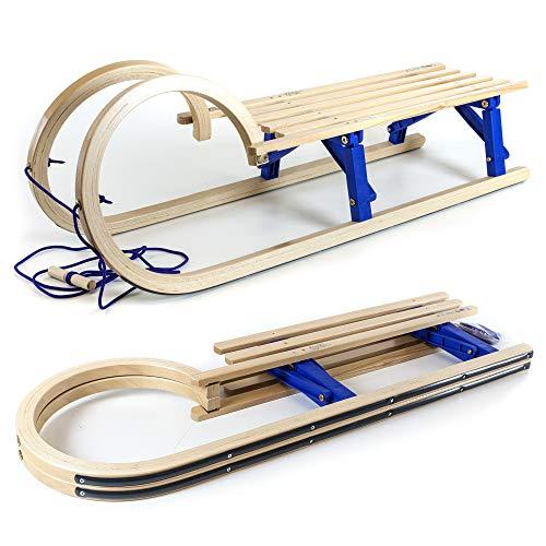 Holzfee Hörnerschlitten Klappschlitten 110 cm mit Leine Tourer Baran Blue XL